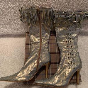 Shiny gold high heel boots